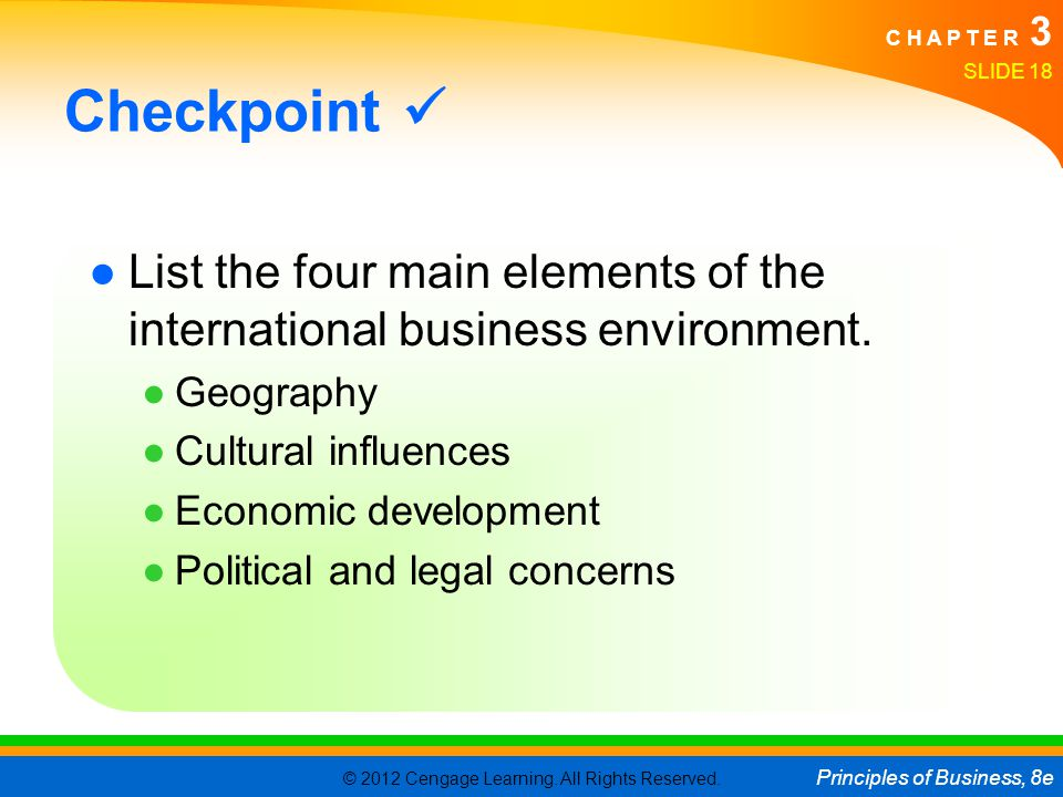Checkpoint  List the four main elements of the international business environment. Geography. Cultural influences.