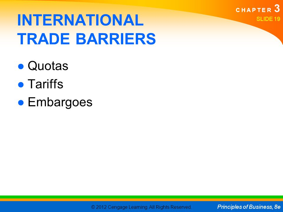 INTERNATIONAL TRADE BARRIERS