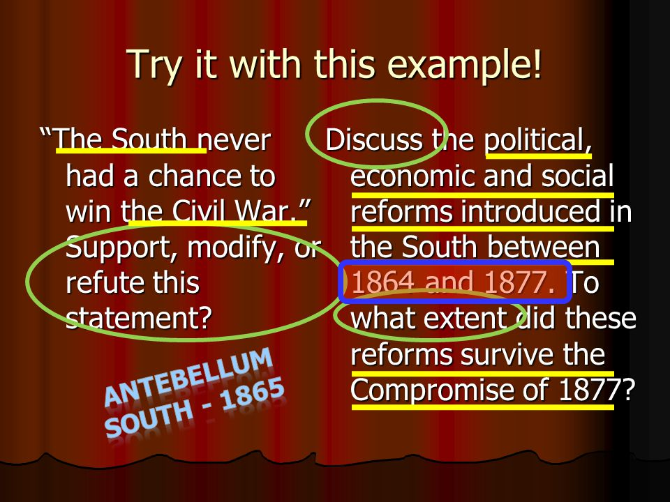 discuss the political economic and social reforms introduced in the south between 1864 and 1877 Apush practice essays 2 discuss the political, economic, and social reforms introduced in the south between 1864 and 1877.
