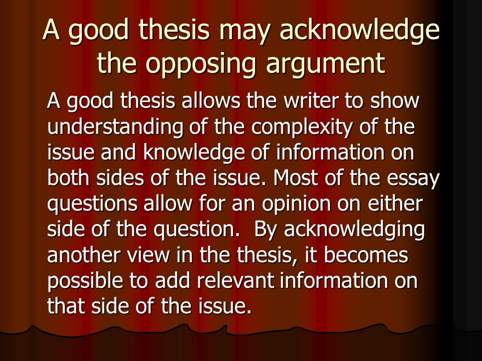 argument essay opposing view