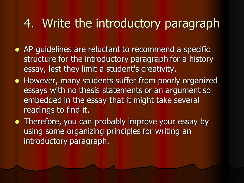 how to write a good introduction for an ap essay Not sure how to write a dbq we'll walk you through the complete process of preparing for and writing one of these tricky ap essays.