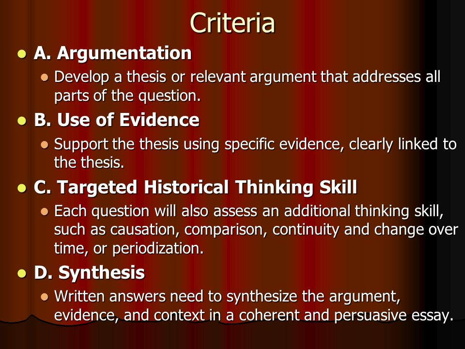 How To Write An Apush Thesis Statement  How To Tackle The Long   Criteria