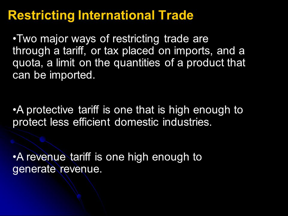 Restricting International Trade