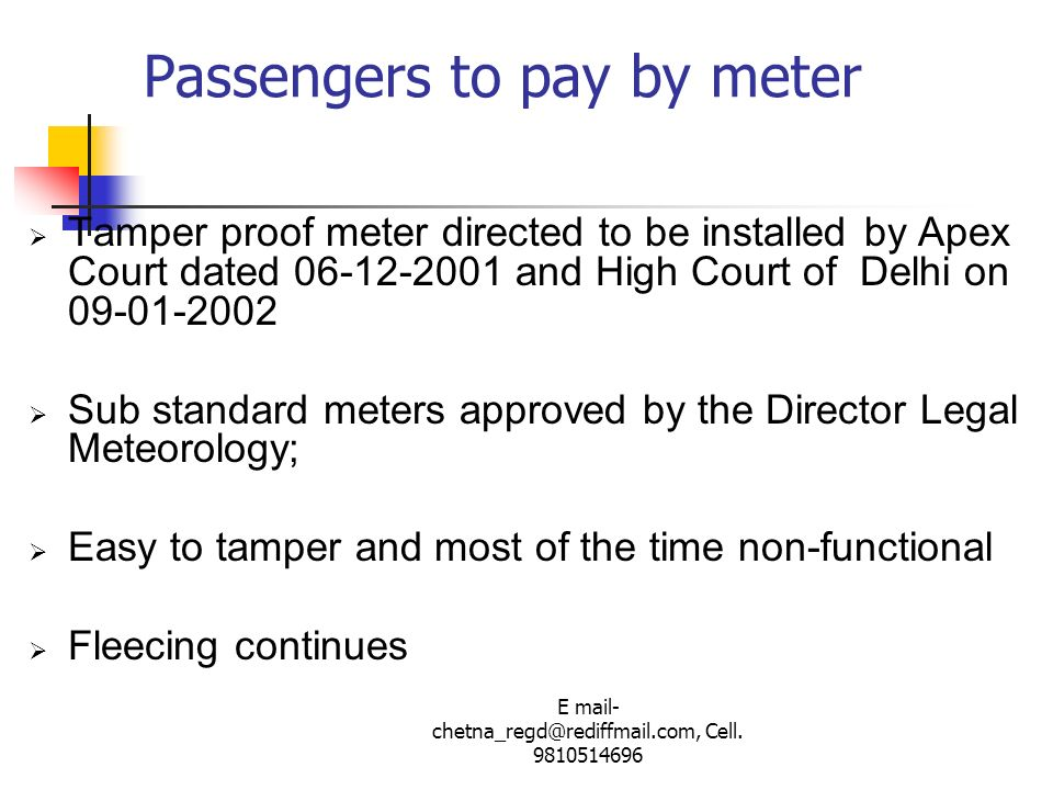 Passengers to pay by meter