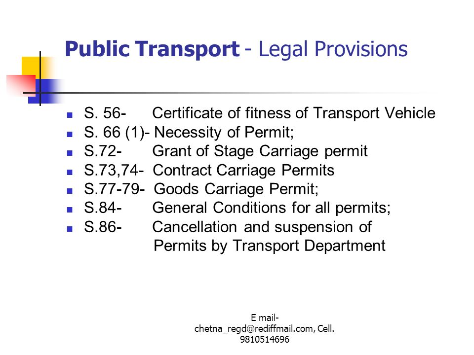 Public Transport - Legal Provisions