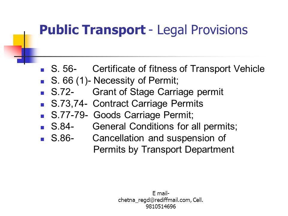 Public Transport - Legal Provisions