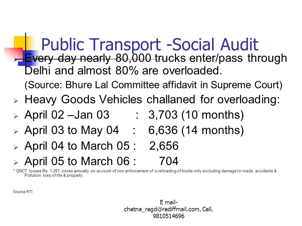 Public Transport -Social Audit