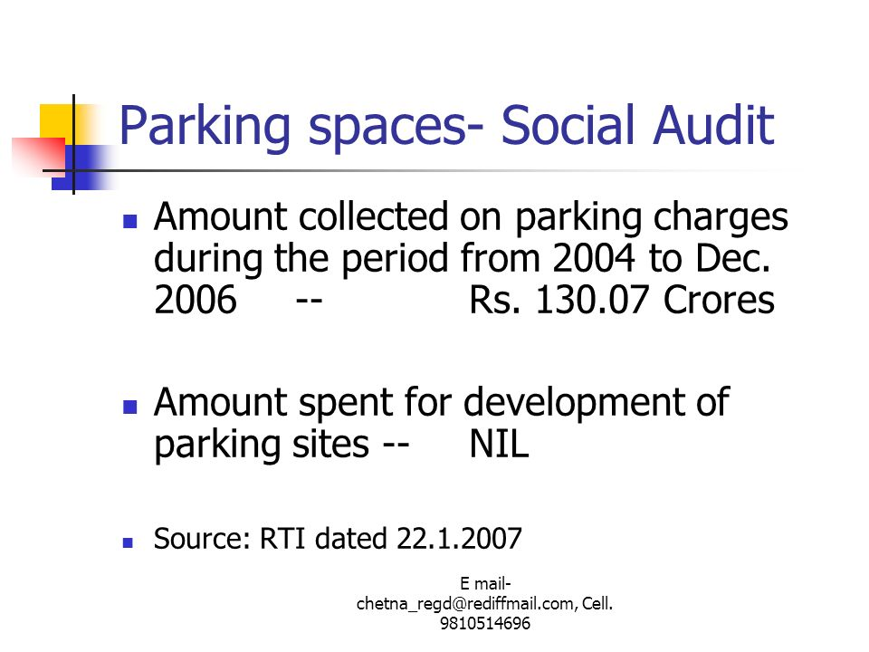 Parking spaces- Social Audit