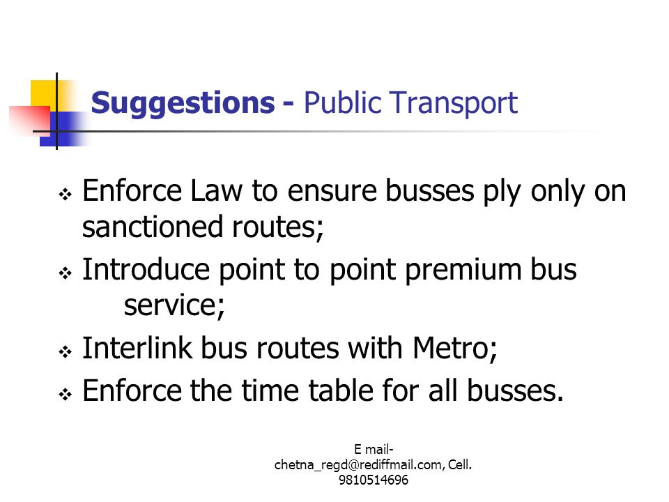 Suggestions - Public Transport
