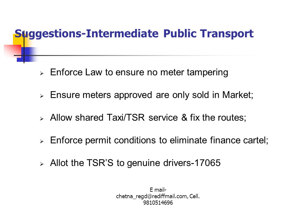 Suggestions-Intermediate Public Transport
