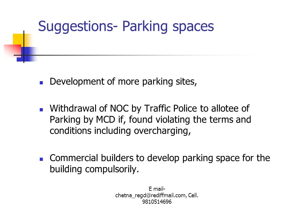 Suggestions- Parking spaces