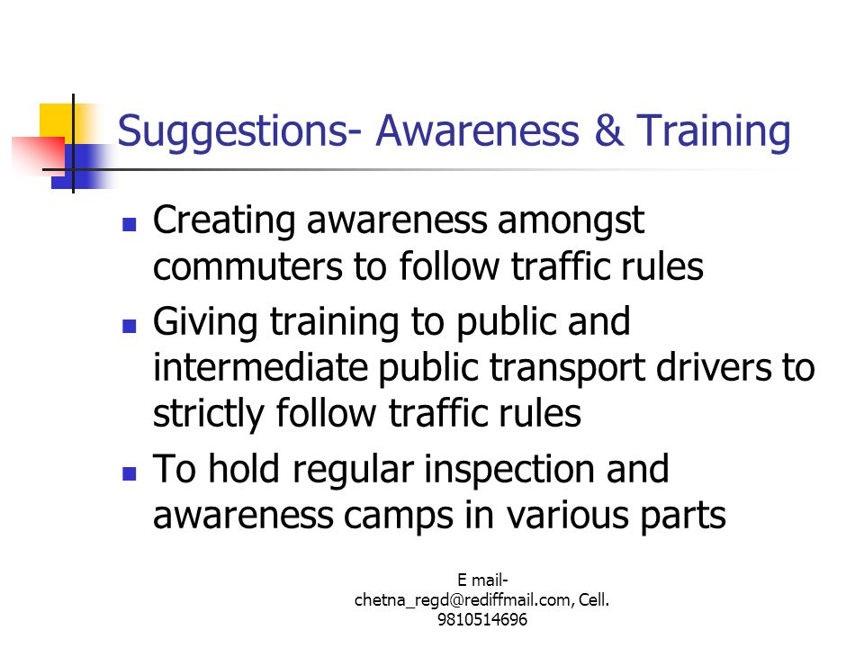 Suggestions- Awareness & Training