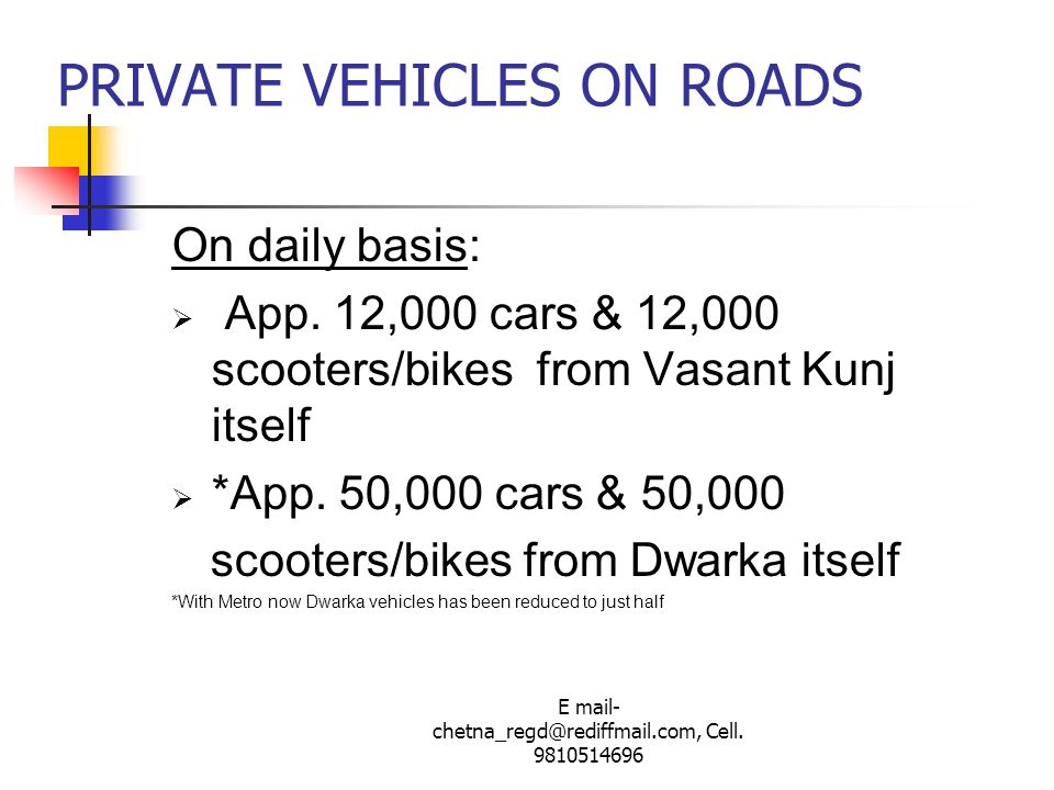 PRIVATE VEHICLES ON ROADS