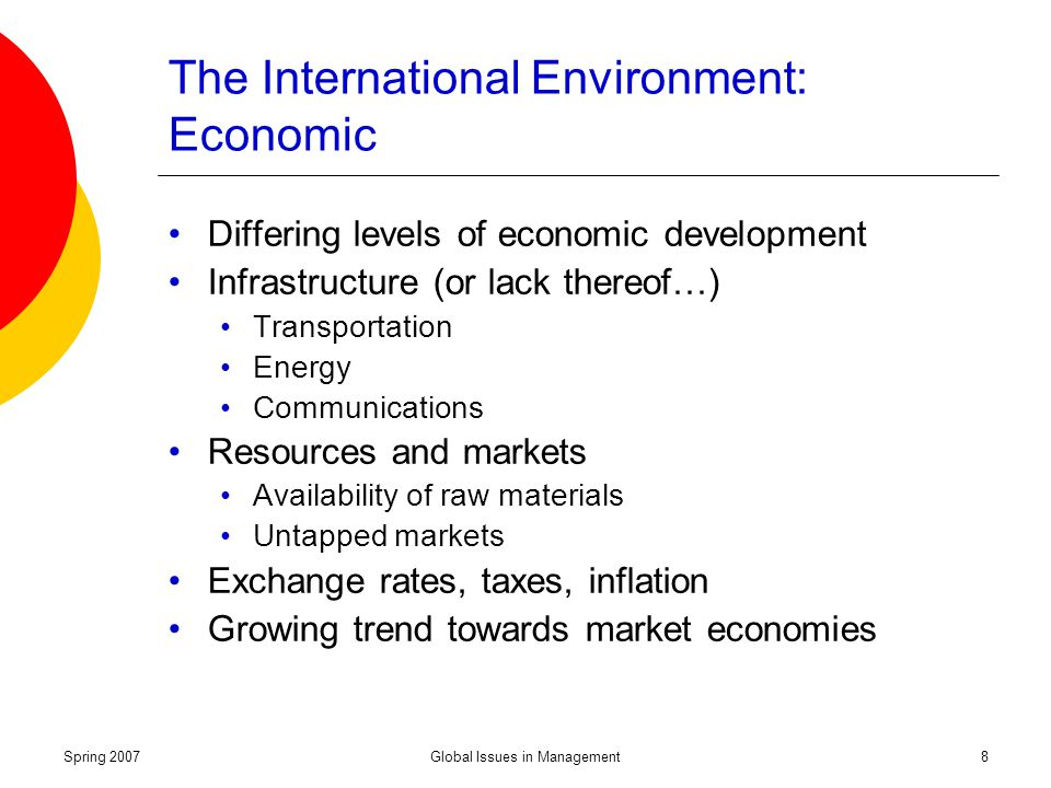 international economic environment Indicative content: - introduction to the characteristics of the international economic environment, globalisation and the international business activity of firms.