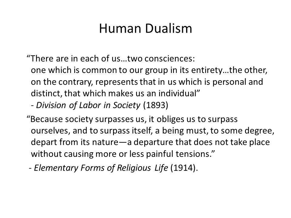 Dualism Human Nature Durkheim