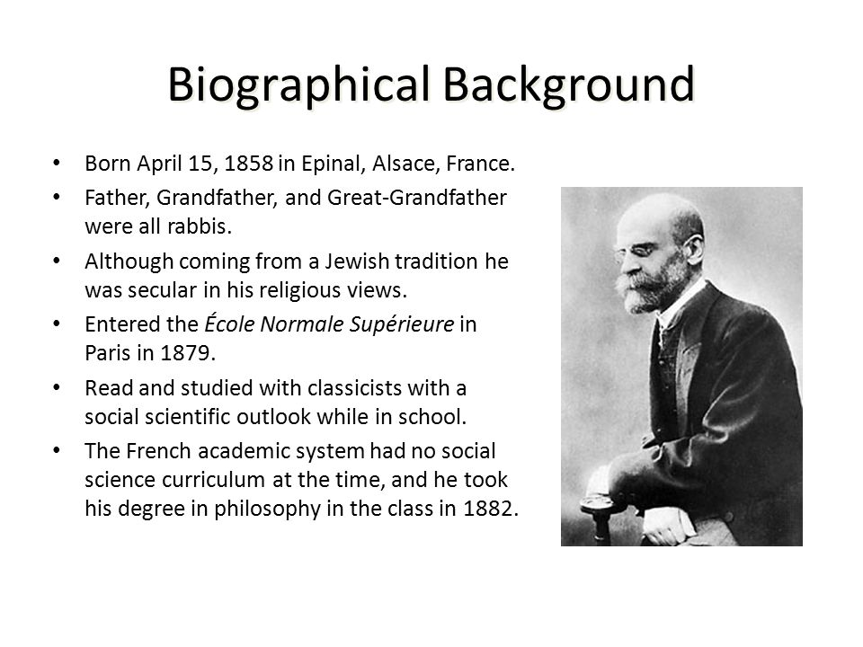 a biography and life work of emile durkheim a french sociologist A biography and life work of emile durkheim, a french sociologist  biography of emile durkheim, division of labor, founder of professional sociology, biological .