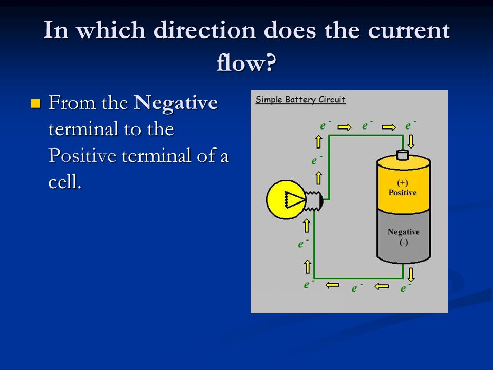 In which direction does the current flow