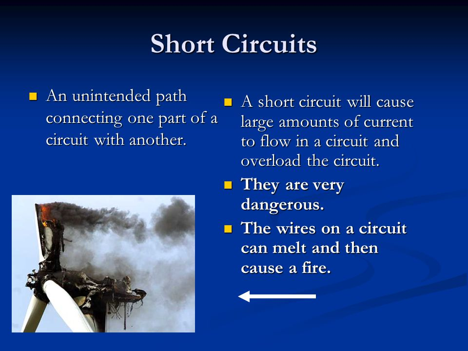 Short Circuits An unintended path connecting one part of a circuit with another.