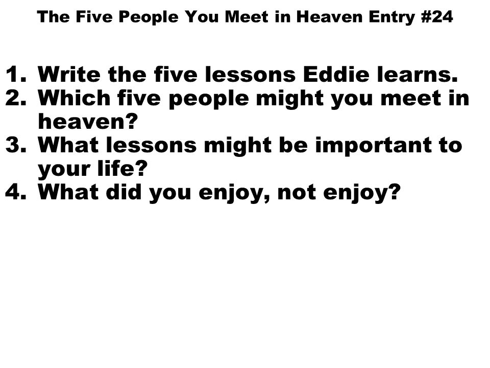 moral lesson of the five people you meet in heaven Mitch albom is the author of the international bestseller the five people you meet in heaven as well  the moral lesson of the story is mainly about life on how.