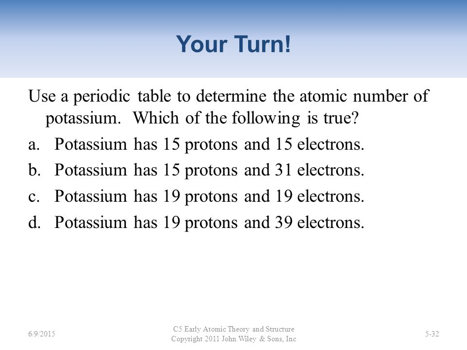 Early atomic theory and structure ppt video online download use a periodic table to determine the atomic number of potassium which urtaz Choice Image