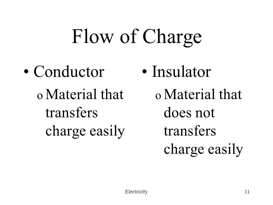 Flow of Charge Conductor Insulator