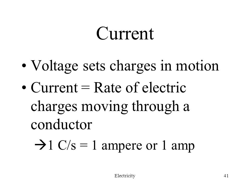 Current Voltage sets charges in motion