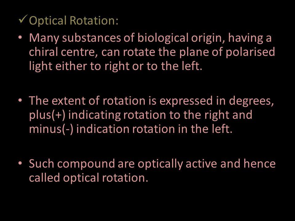 Optical Rotation:
