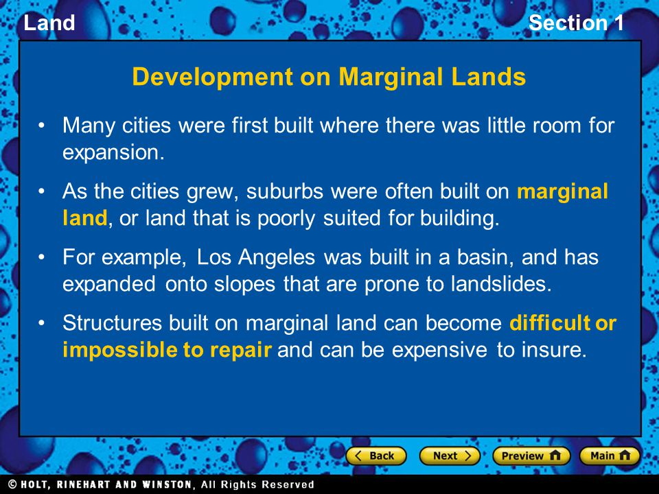 Development on Marginal Lands