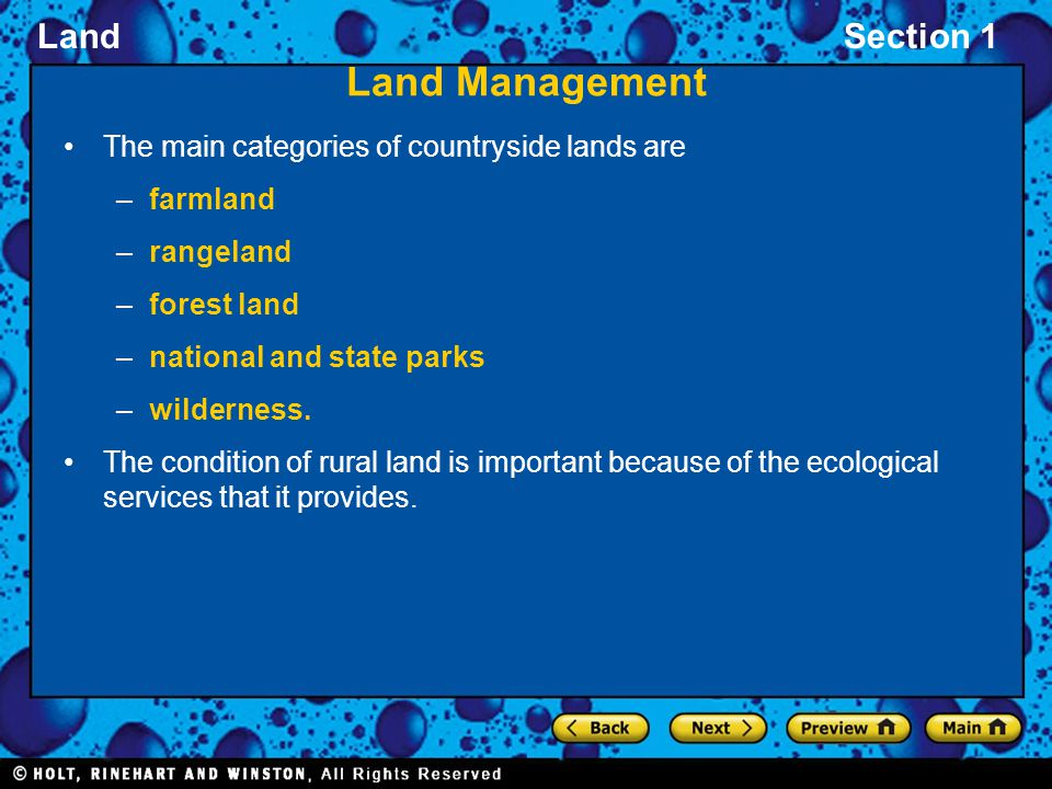 Land Management The main categories of countryside lands are farmland