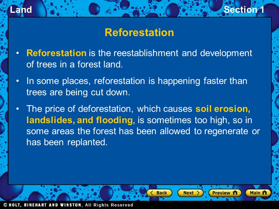 Reforestation Reforestation is the reestablishment and development of trees in a forest land.