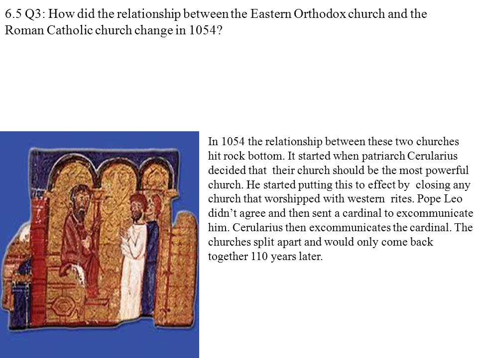 6.5 Q3: How did the relationship between the Eastern Orthodox church and the Roman Catholic church change in 1054