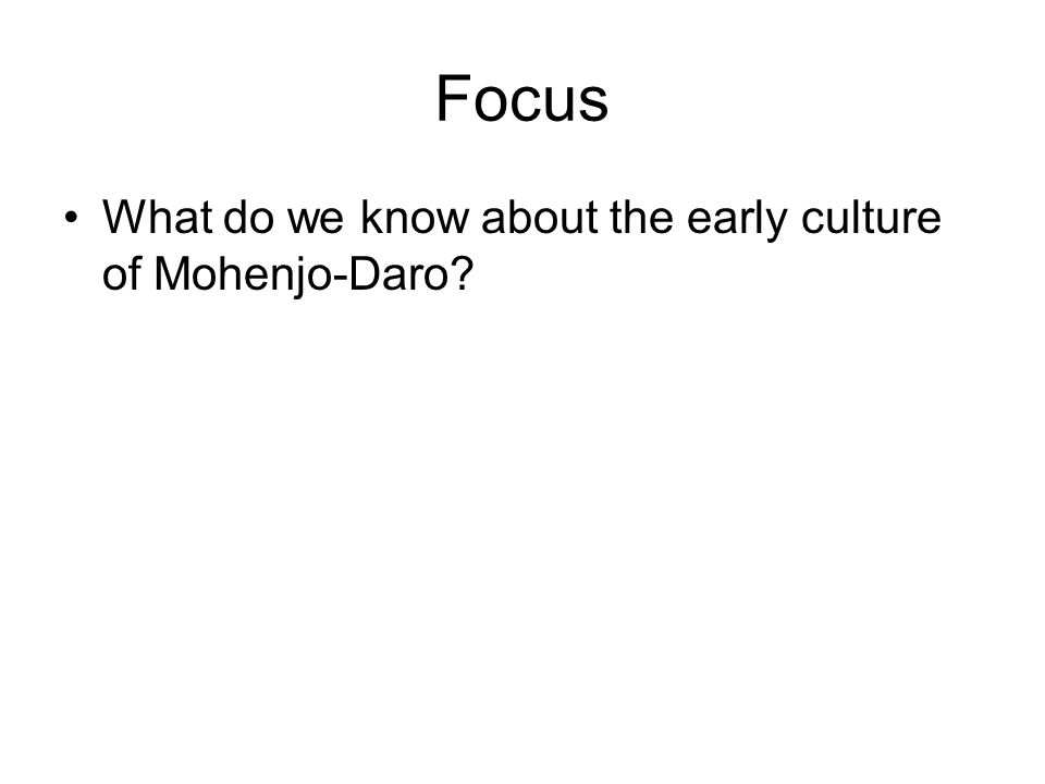Focus What do we know about the early culture of Mohenjo-Daro