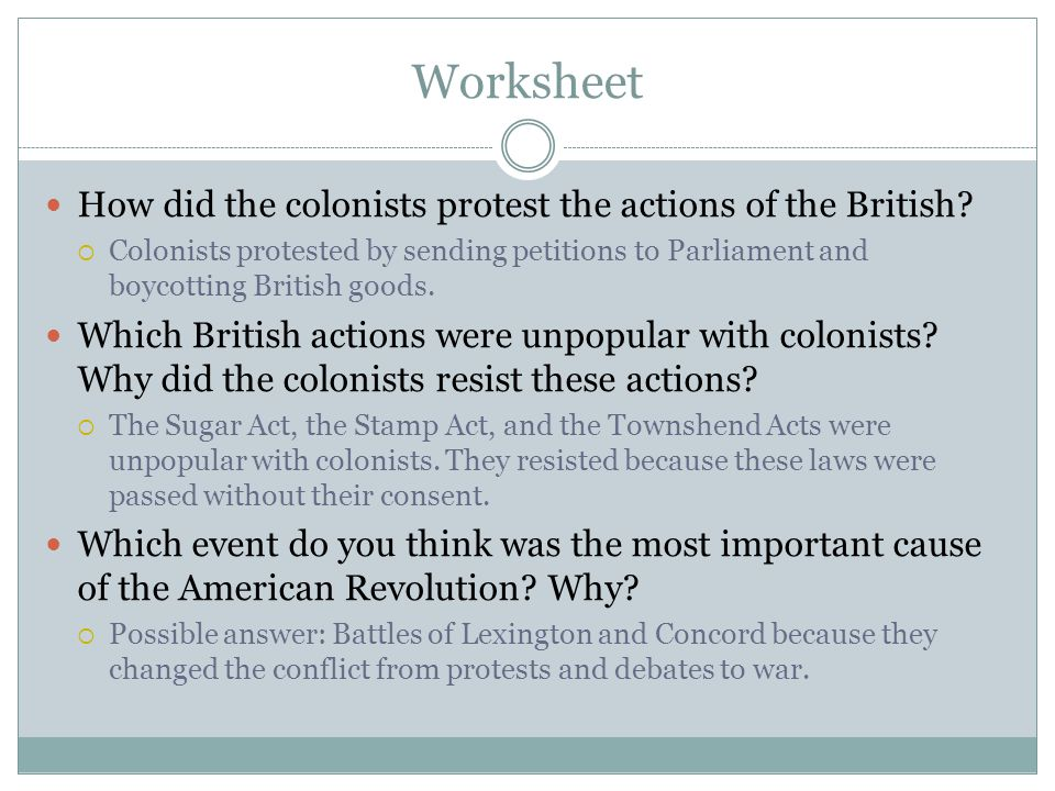 Worksheet How did the colonists protest the actions of the British