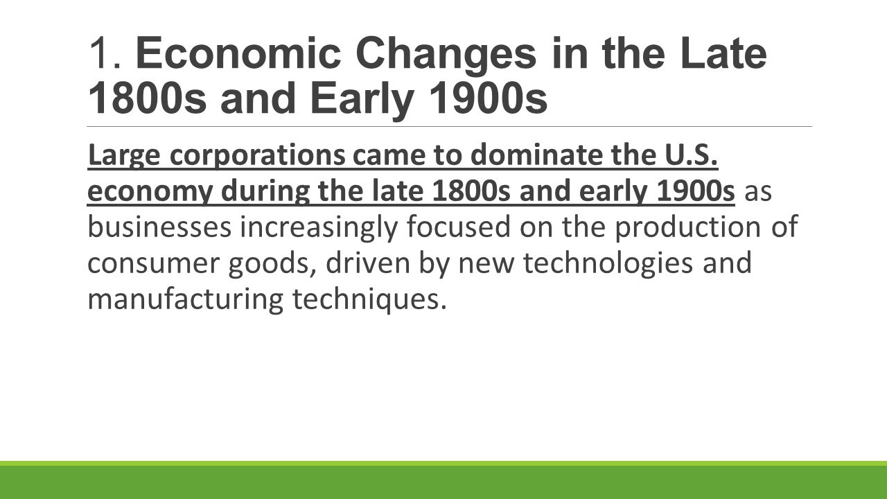 the political and economical changes in america during the 1800s The struggle for economic equality (1900-1950s)  this situation began to change as the united states entered world war i, and they found work in war-related.