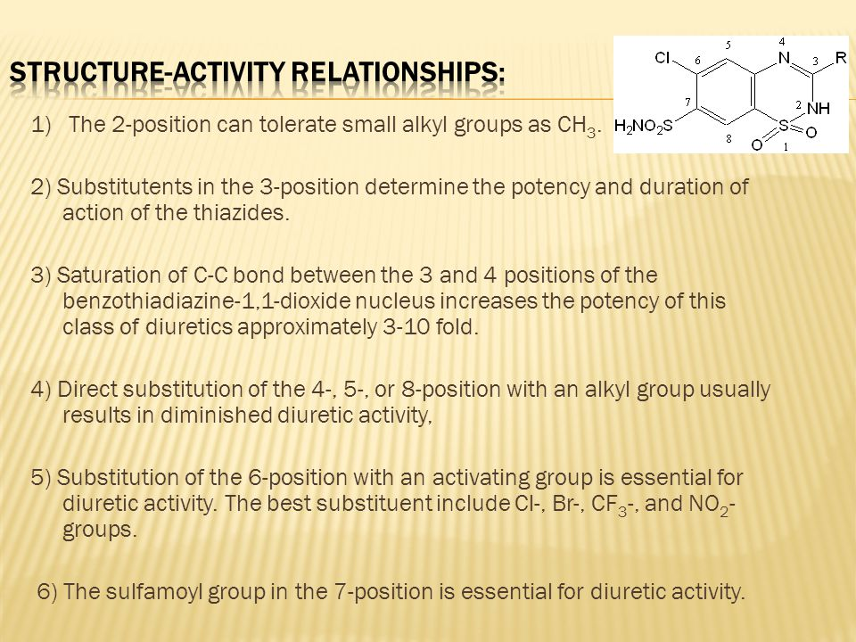 structure activity relationship of thiazide diuretics hypercalcemia