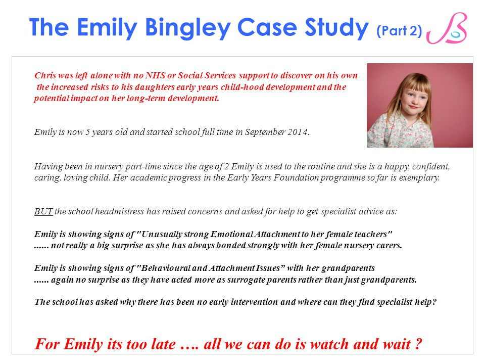 emily case study adolescent development Abstract this case study details the developmental milestones of an adolescent  girl named emily emily is 12 years old and lives with her mother who is a single .