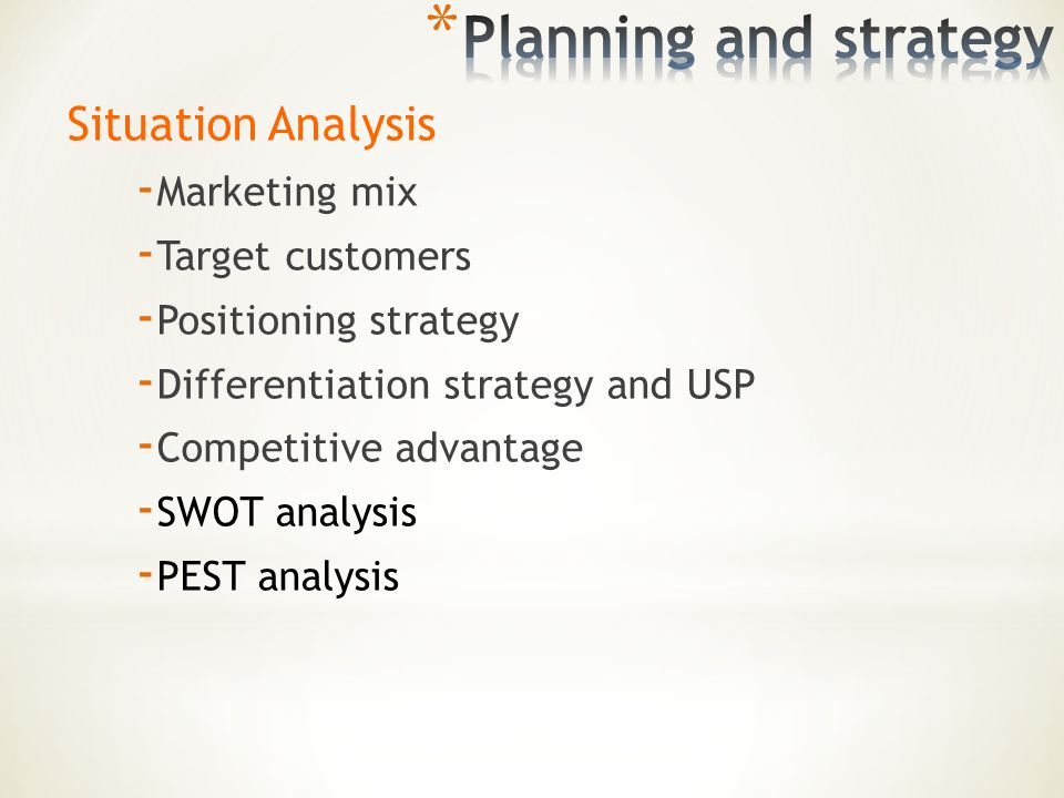 situation analysis and current marketing mix Analysis – of your internal and external environment 2  every good marketing  plan needs to analyse the current business situation and ask a simple question,.