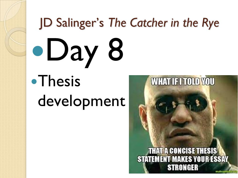 thesis papers on the catcher in the rye