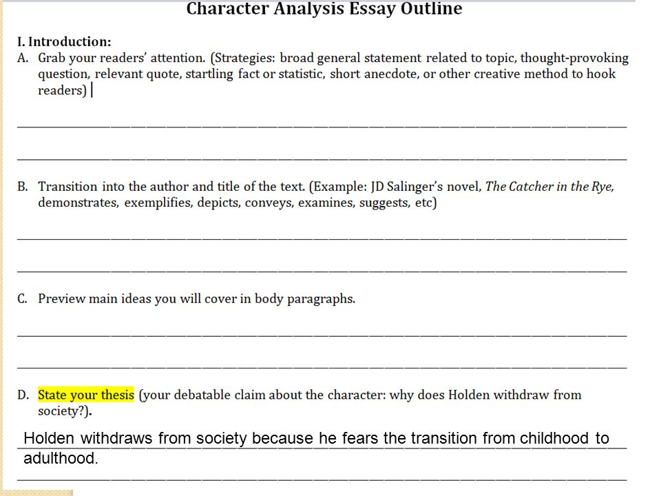 how to write a characterization paragraph