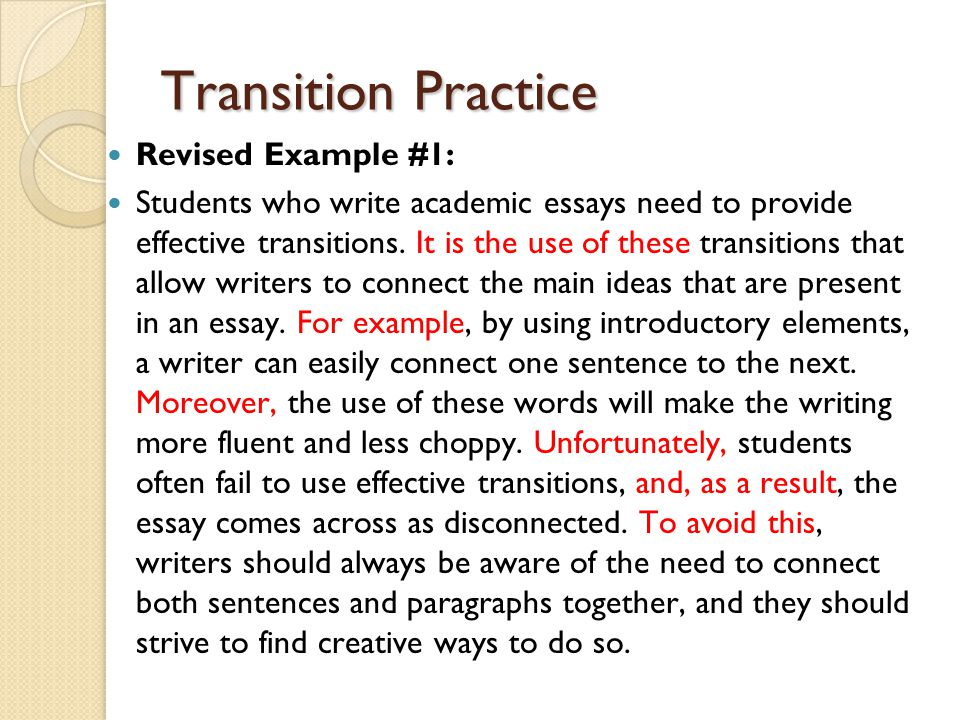 essay writing and transitions