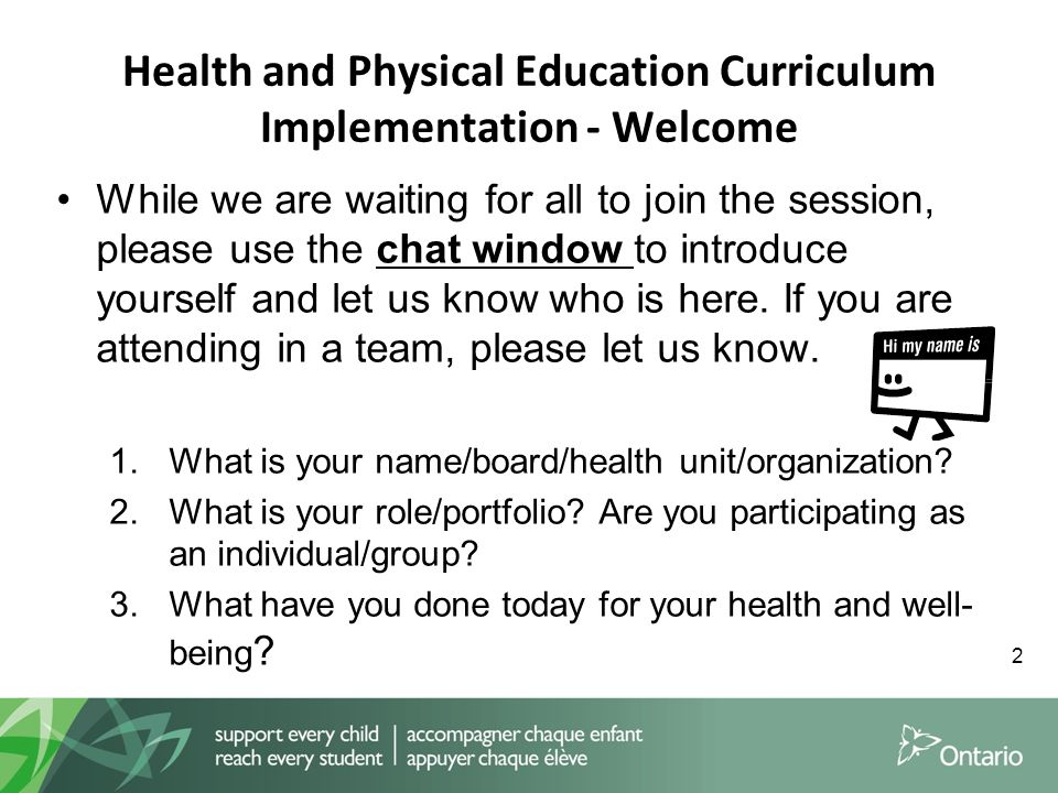 The Ontario Health and Physical Education Curriculum - ppt ...