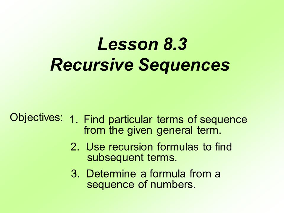 Warmup Finding Terms of a Sequence ppt video online download – Recursive Sequence Worksheet