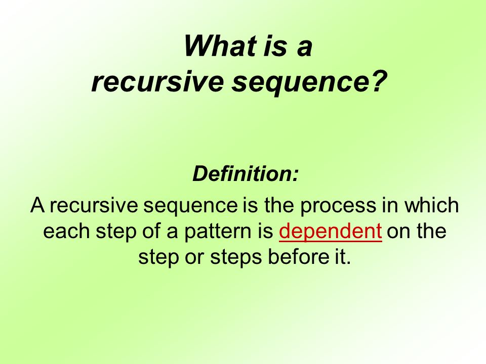 recursive writing The definition of recursive is using the same formula or operation on a result to create the next result, or repeatedly returning to the same point an example of something recursive is a computer program that uses the same formula at the end of one line of numbers to create the next line of numbers.