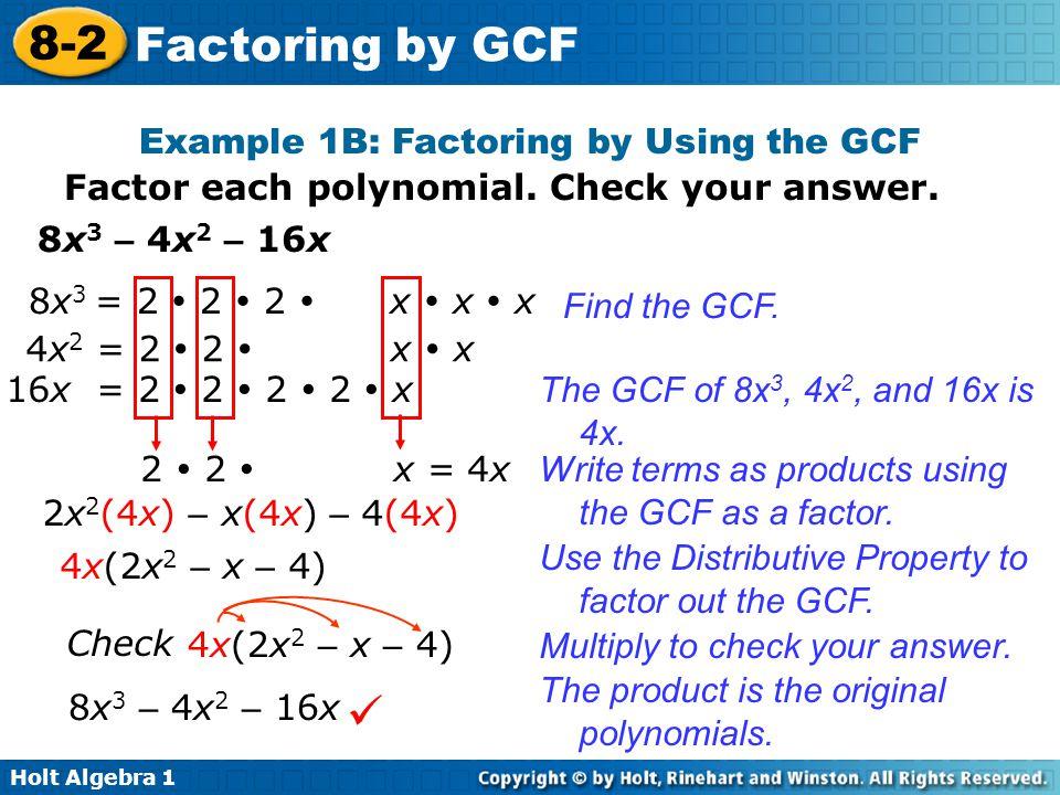 8-2 Factoring by GCF Warm Up Lesson Presentation Lesson Quiz - ppt ...