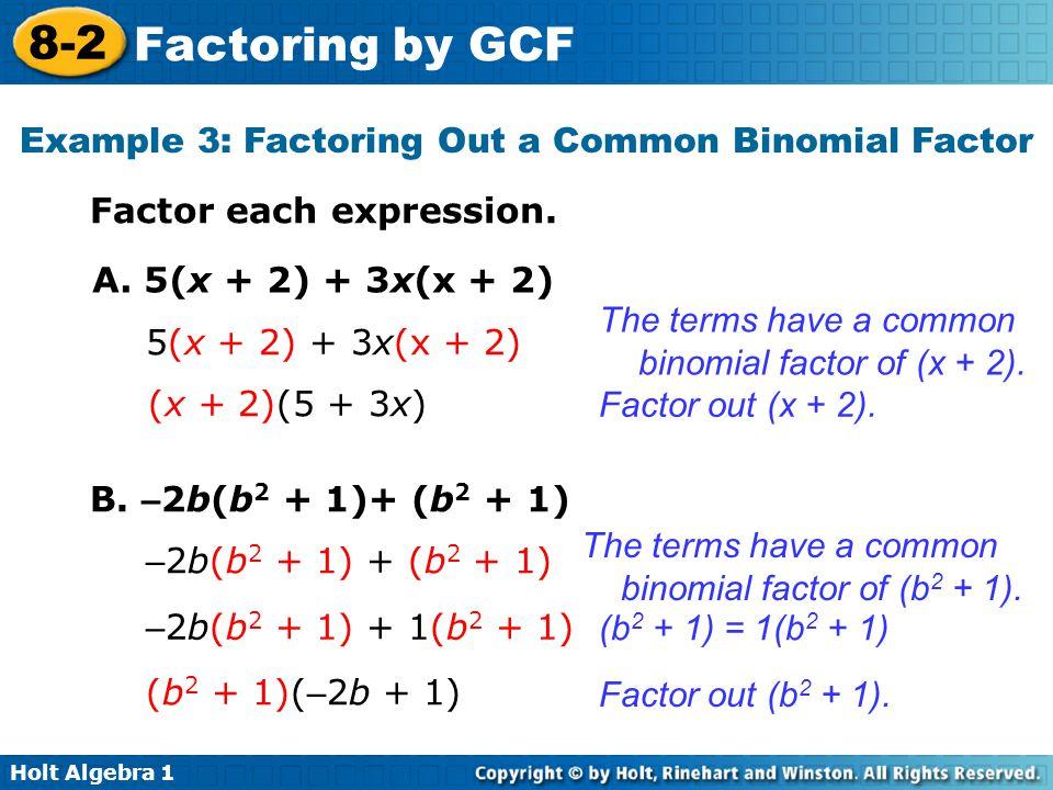 8 2 factoring by gcf warm up lesson presentation lesson quiz ppt video online download. Black Bedroom Furniture Sets. Home Design Ideas