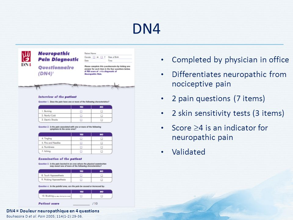DN4 Completed by physician in office