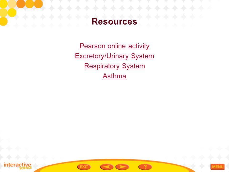 Resources Pearson online activity Excretory/Urinary System Respiratory System Asthma