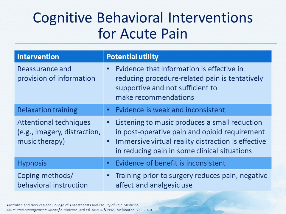 cognitive behavioral intervention approach Early intervention a cognitive-behavioral there may be other options available such as certain complementary and integrative medicine approaches.