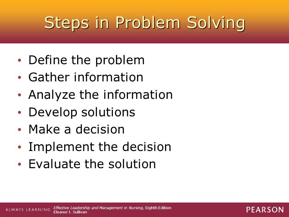 problem solving techniques in nursing leadership wendell berry essay solving for pattern