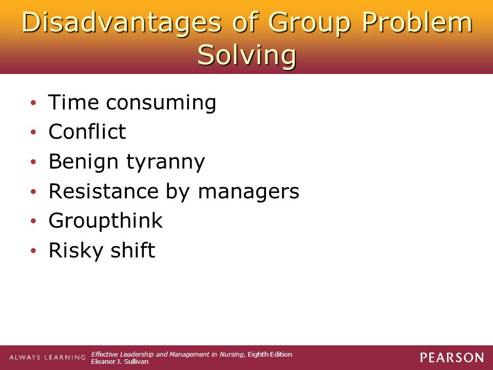 Disadvantages of Group Problem Solving